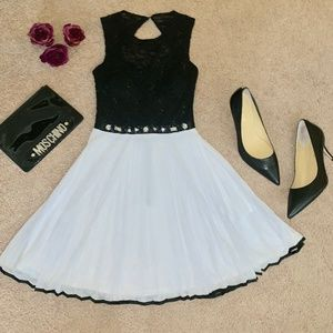 Sweet Black & White Formal Mini Dress